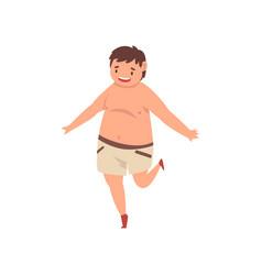 happy fat boy wearing shorts cute overweight vector image