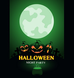 happy halloween night party pumpkin green moon vector image