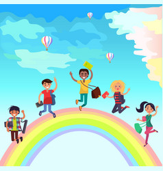 happy jumping students on rainbow vector image