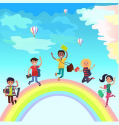 Happy jumping students on rainbow vector