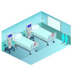 Intensive care unit medical ward with ventilator vector