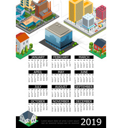 isometric cityscape 2019 year calendar poster vector image