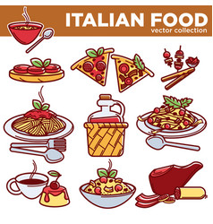 italian food pizza pasta meat and dessert drink vector image