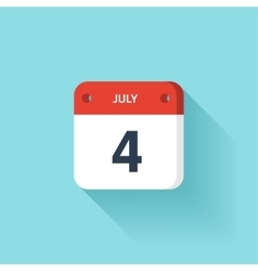 July 4 Isometric Calendar Icon With Shadow vector