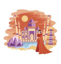 landscape new delhi cartoon the vector image