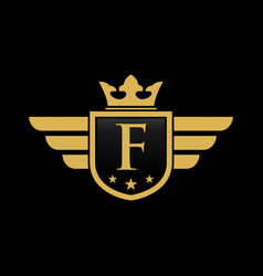 letter f initial wing with shield and crown vector image
