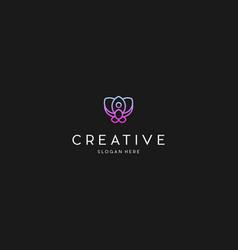 lotus meditation creative business logo design vector image