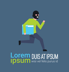 Man in black mask tapped folder run away hacker vector
