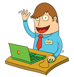Man using computer vector image