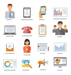 marketing colored icons vector image