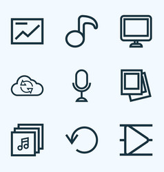 Media icons line style set with musical note vector