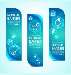 medical blue vertical banners set vector image