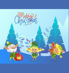 merry christmas greeting card with happy elves vector image
