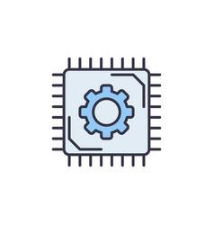 micro chip thin line concept blue icon vector image