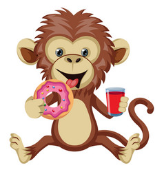 Monkey with donut on white background vector