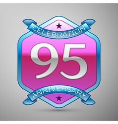Ninety five years anniversary celebration silver vector