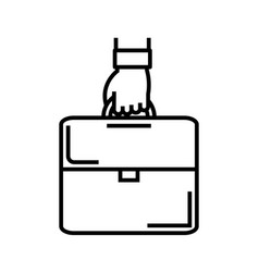 Office suitcase line icon concept sign outline vector
