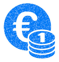 One euro coin stack grunge icon vector