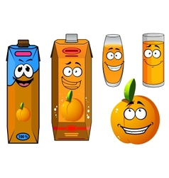 Orange juice and fruit cartoon icons vector