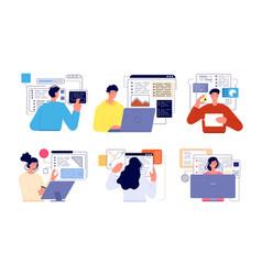 People programming professional geek working vector