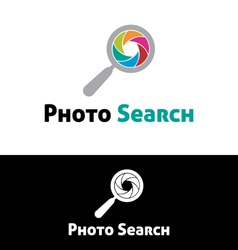 Photo search logo template vector image