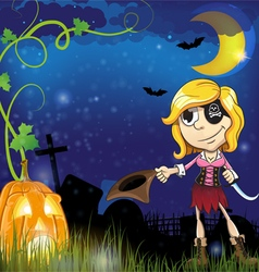 Pirate girl with jack o lantern vector image