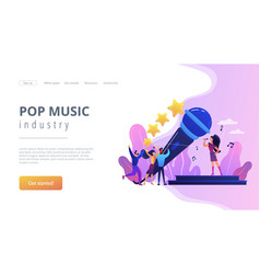 Popular music concept landing page vector