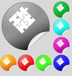 Puzzle piece icon sign Set of eight multi colored vector