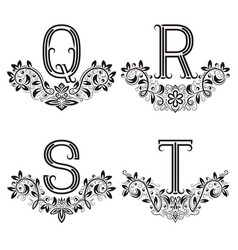 q r s t vintage monograms in floral wreaths vector image