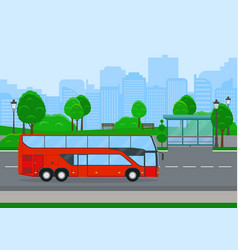 red shuttle bus going on country road vector image