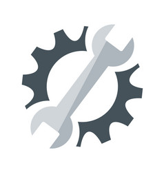 repair service icon black cog and blue wrench vector image