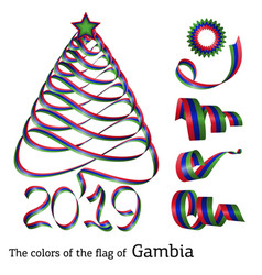 ribbon christmas tree colors of gambia vector image