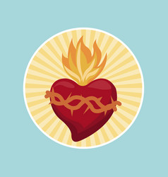 Sacred heart blessed image label vector