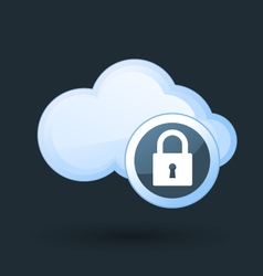Safe cloud computing - cloud and padlock icon vector image