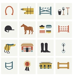 Set horseback riding icons vector