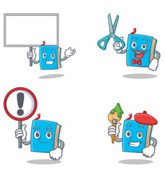 Set of blue book character with bring board sign vector