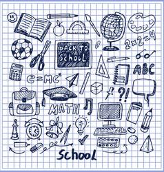 Set school stuff hand drawn vector