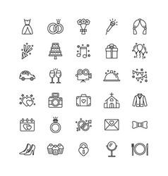 set wedding icons on white background vector image