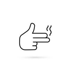 Simple thin line finger like pistol vector