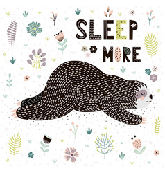 sleep more card with a cute sleeping sloth vector image