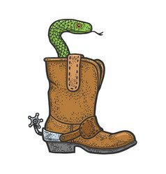 Snake in a cowboy boot sketch vector