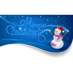 Snowman with Christmas text vector