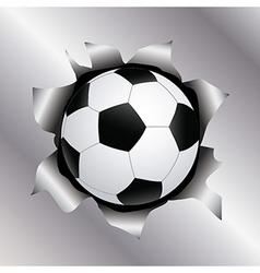Soccer thru metal sheet vector