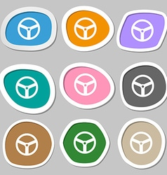 Steering wheel icon sign Multicolored paper vector image