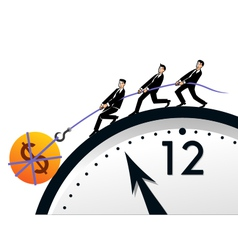 Teamwork time and money vector image