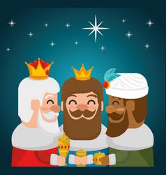 Three magic kings of orient cartoons vector