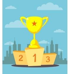 Trophy cup prize goblet on sport winner podium vector