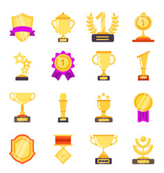 trophy symbols achievement awards medals with vector image