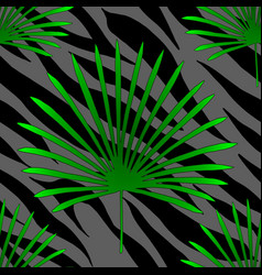 tropical palm leaves jungle on tiger fur seamless vector image