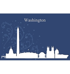 Washington city skyline on blue background vector
